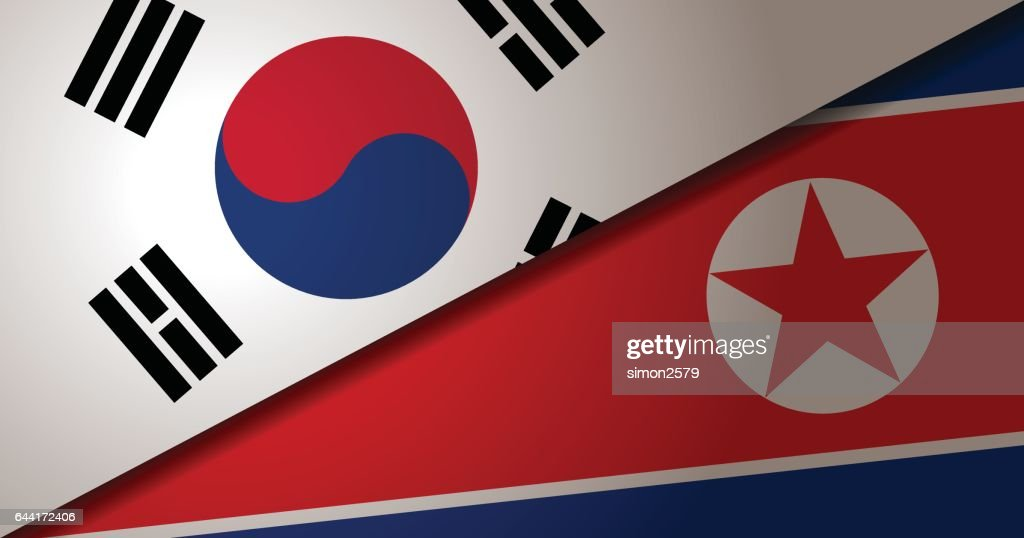 South Korea and North Korea Flag with grunge texture background