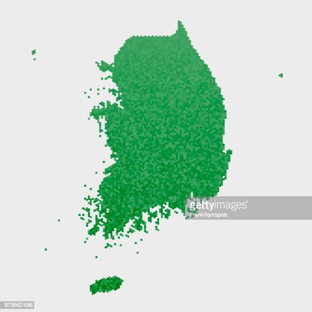 Südkorea-Land-Map-grünen Sechseck-Muster