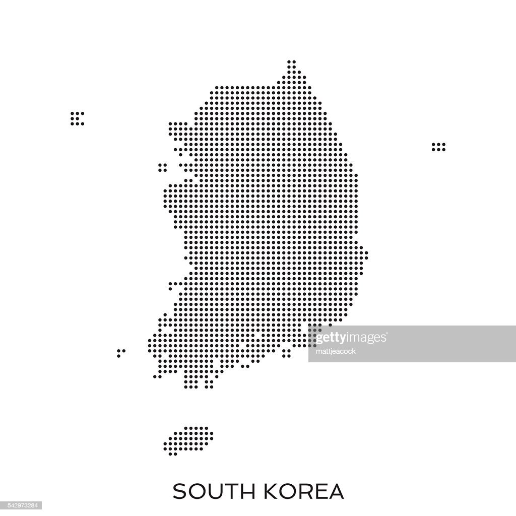 South Korea dot halftone pattern map : stock illustration