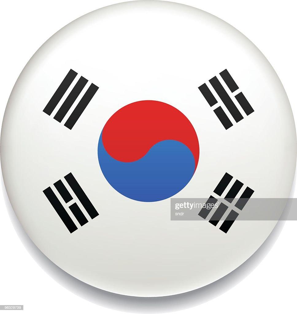 South Korea flag button : stock illustration