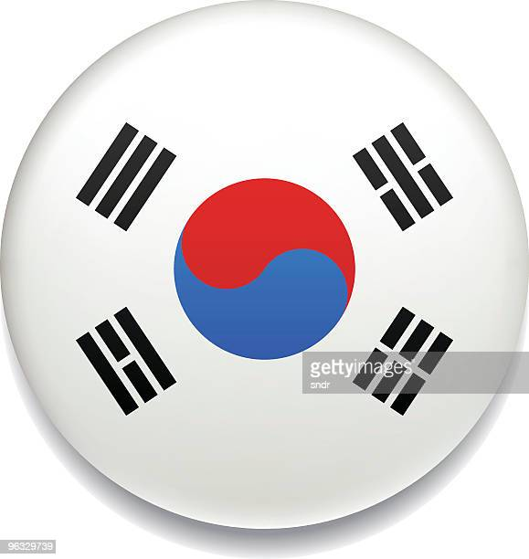 south korea flag button - south korea stock illustrations, clip art, cartoons, & icons