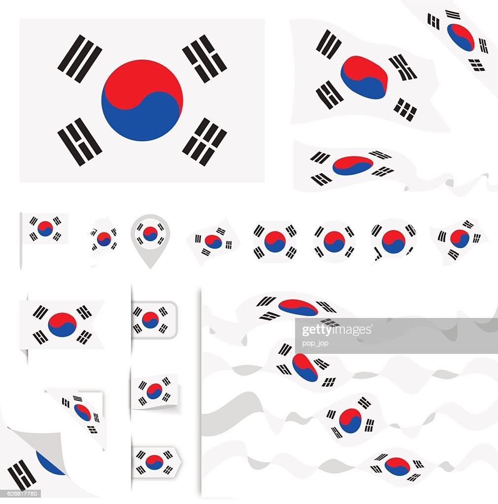 South Korea Flag Set : stock illustration