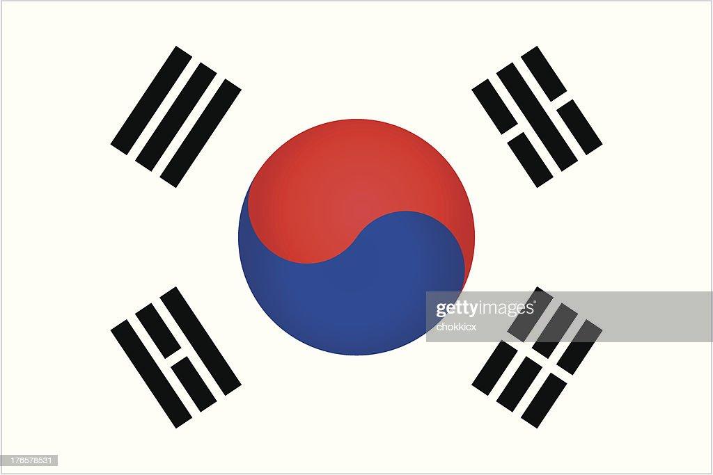 south korea flag : stock illustration