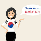 South Korea football fans.Cheerful soccer fans, sports images.Young woman,Pretty girl sign.Happy fans are cheering for their team.Vector illustration