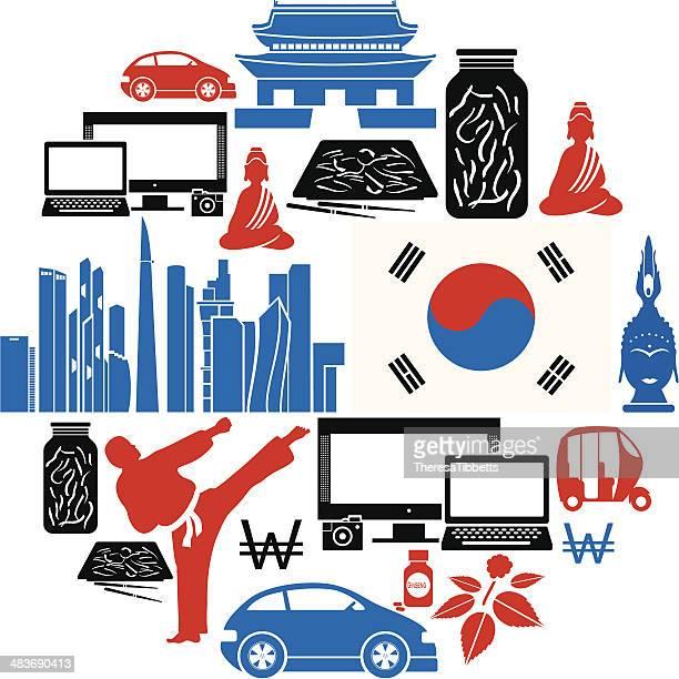 south korea icon set - seoul stock illustrations, clip art, cartoons, & icons