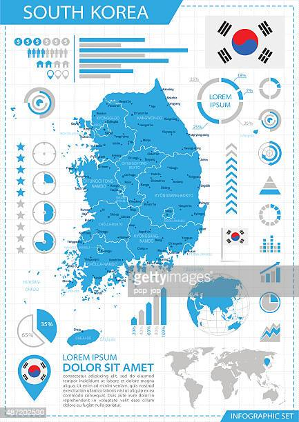 south korea - infographic map - illustration - south korea stock illustrations, clip art, cartoons, & icons