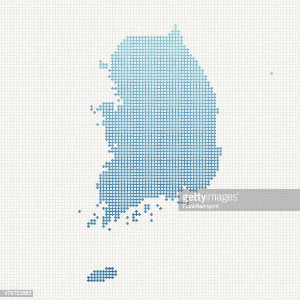 south korea map blue dot pattern - south korea stock illustrations