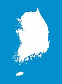South Korea map outline graphic freehand drawing on white background. Vector illustration