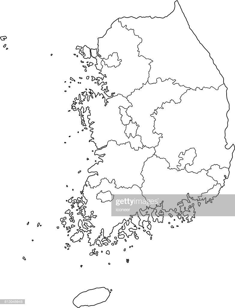 South Korea map outline white background : stock illustration