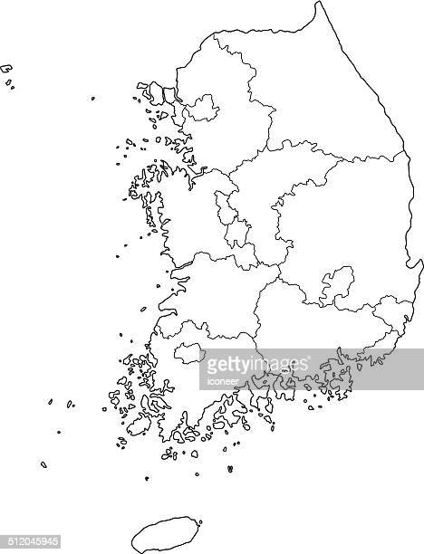 south korea map outline white background - south korea stock illustrations, clip art, cartoons, & icons