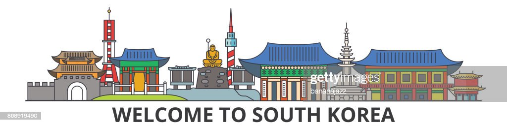 South Korea outline skyline, korean flat thin line icons, landmarks, illustrations. South Korea cityscape, korean travel city vector banner. Urban silhouette