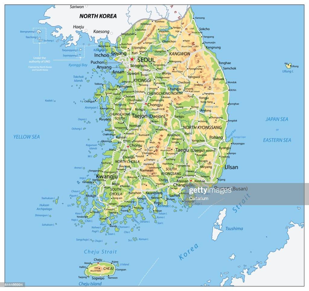 South Korea Physical Map