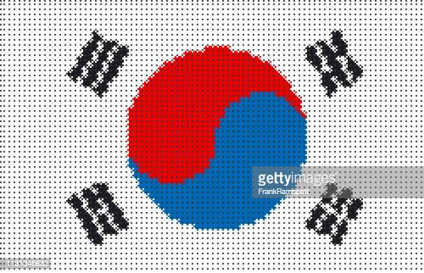 Südkorea Pixelte Vektorfahne