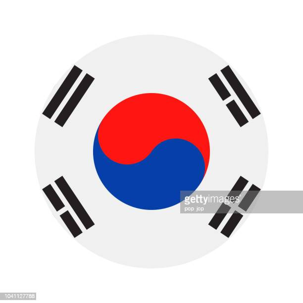 south korea - round flag vector flat icon - seoul stock illustrations, clip art, cartoons, & icons