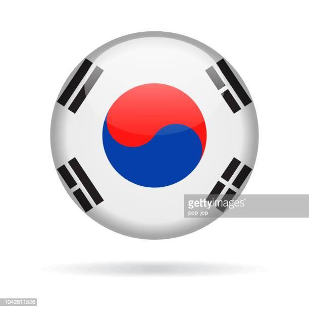 south korea - round flag vector glossy icon - south korea stock illustrations, clip art, cartoons, & icons