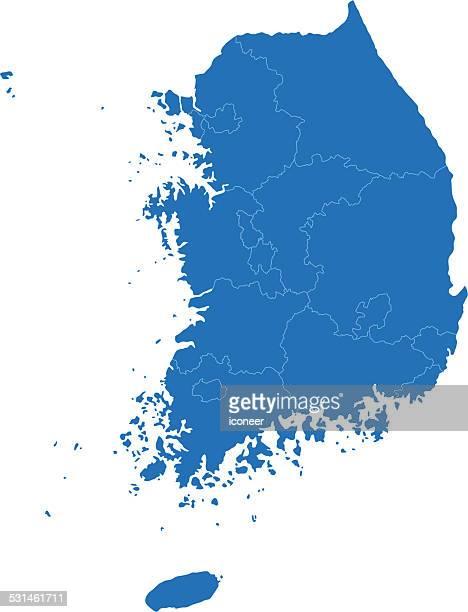 south korea simple blue map on white background - south korea stock illustrations, clip art, cartoons, & icons