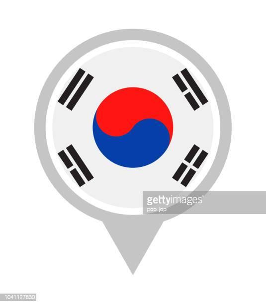 south korea - vector round flag pin flat icon - south korea stock illustrations