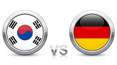 South Korea vs. Germany - Match 43 - Group F - 2018 tournament. Shiny metallic icons buttons with national flags isolated on white background.