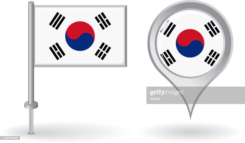South Korean pin icon and map pointer flag. Vector