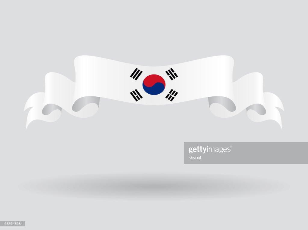 South Korean wavy flag. Vector illustration.