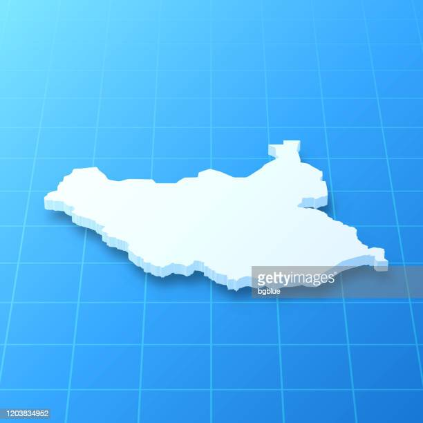 south sudan 3d map on blue background - south sudan stock illustrations