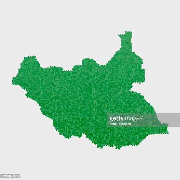 Süd-Sudan Land Map grünen Sechseck-Muster