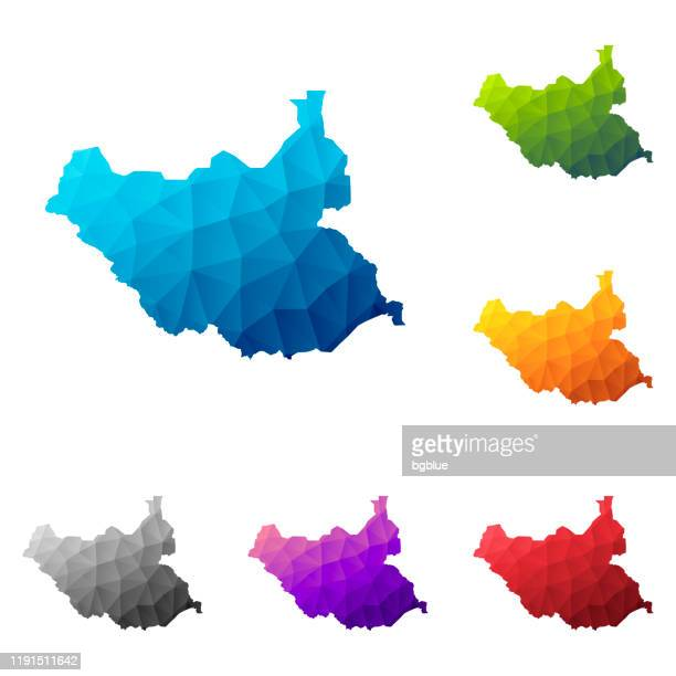 south sudan map in low poly style - colorful polygonal geometric design - sudan stock illustrations