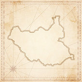 South Sudan map in retro vintage style - old textured paper
