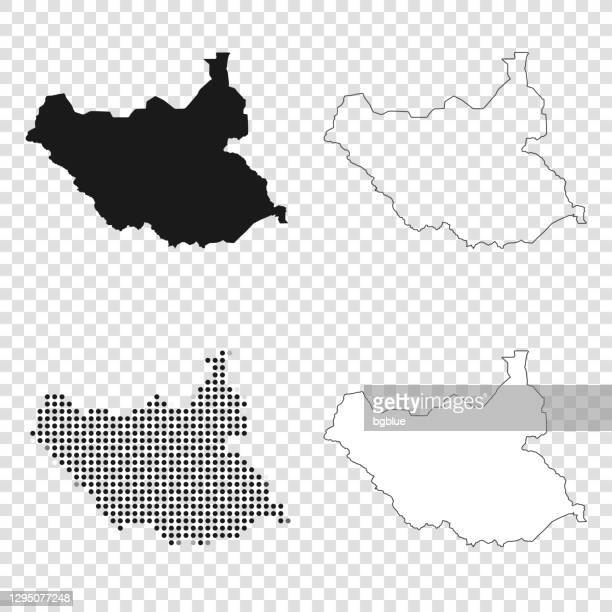 south sudan maps for design - black, outline, mosaic and white - south sudan stock illustrations