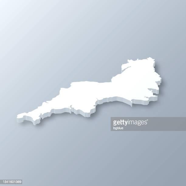 灰色の背景に南西 3d マップ - イングランド南西部点のイラスト素材/クリップアート素材/マンガ素材/アイコン素材
