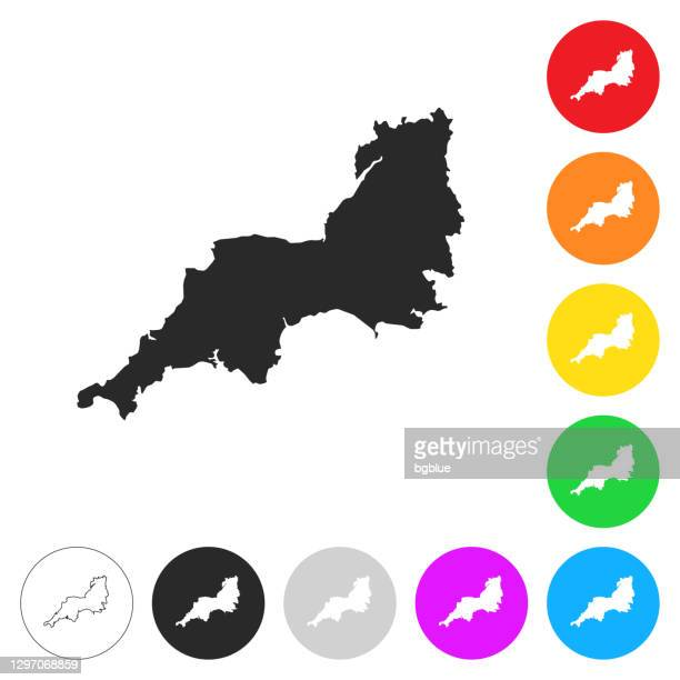 南西マップ - 異なるカラーボタン上のフラットアイコン - イングランド南西部点のイラスト素材/クリップアート素材/マンガ素材/アイコン素材
