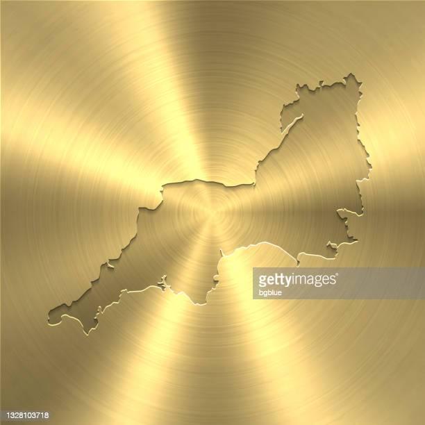 ゴールド背景の南西マップ - 円形のブラシで磨いた金属テクスチャ - イングランド南西部点のイラスト素材/クリップアート素材/マンガ素材/アイコン素材