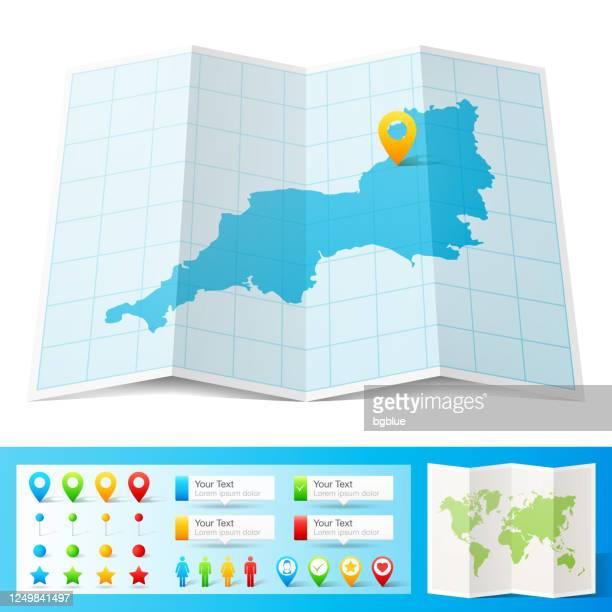 位置ピンが白い背景に分離された南西マップ - イングランド南西部点のイラスト素材/クリップアート素材/マンガ素材/アイコン素材