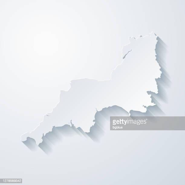 白紙の背景に紙切り効果のある南西マップ - イングランド南西部点のイラスト素材/クリップアート素材/マンガ素材/アイコン素材