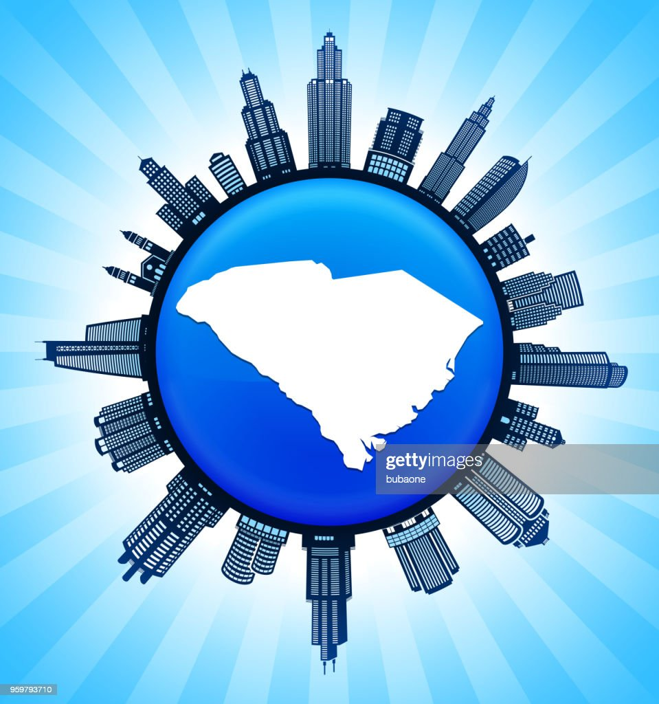 South_Carolina staatliche Karte auf demokratische Blue City Skyline Hintergrund : Stock-Illustration