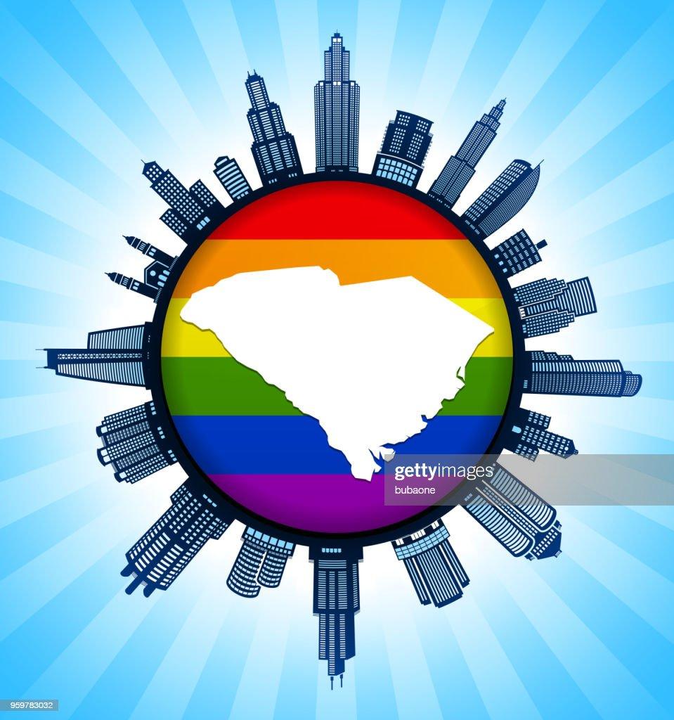 South_Carolina staatliche Karte auf Gay Pride Stadt Skyline Hintergrund : Stock-Illustration