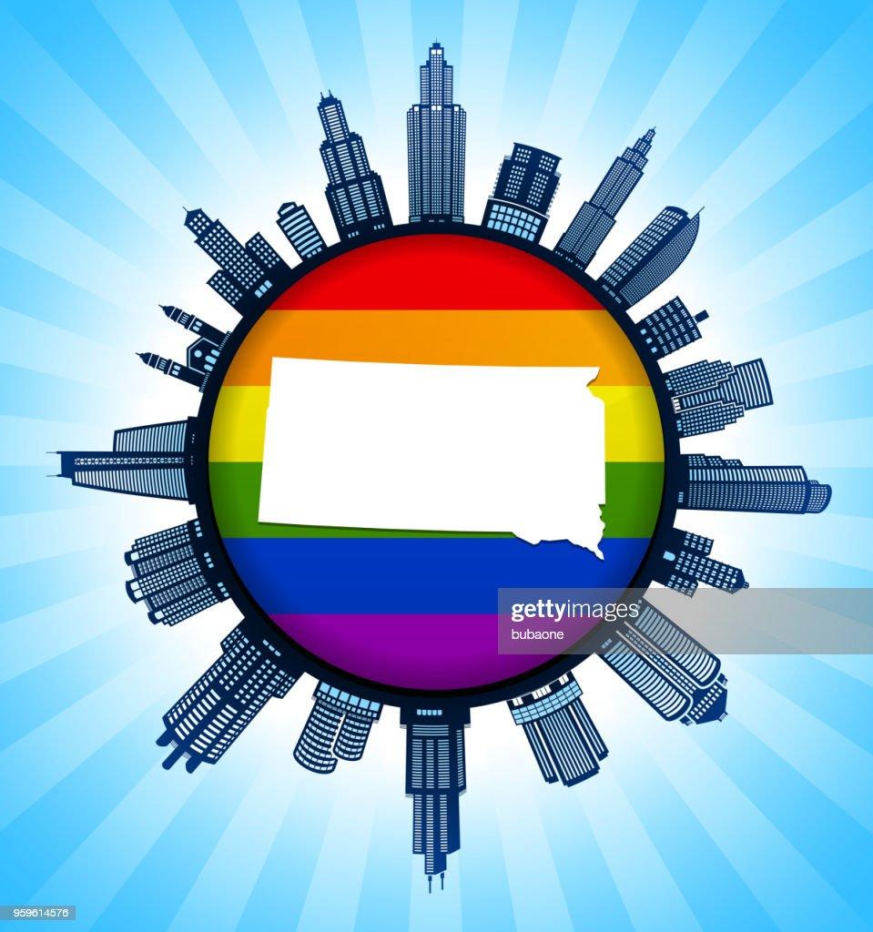 South_Dakota staatliche Karte auf Gay Pride Stadt Skyline Hintergrund : Stock-Illustration