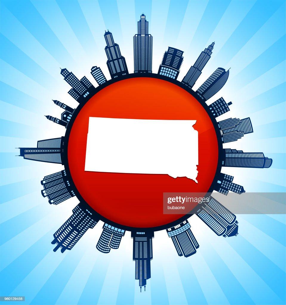 South_Dakota staatliche Karte auf republikanische rote Stadt Skyline Hintergrund : Stock-Illustration