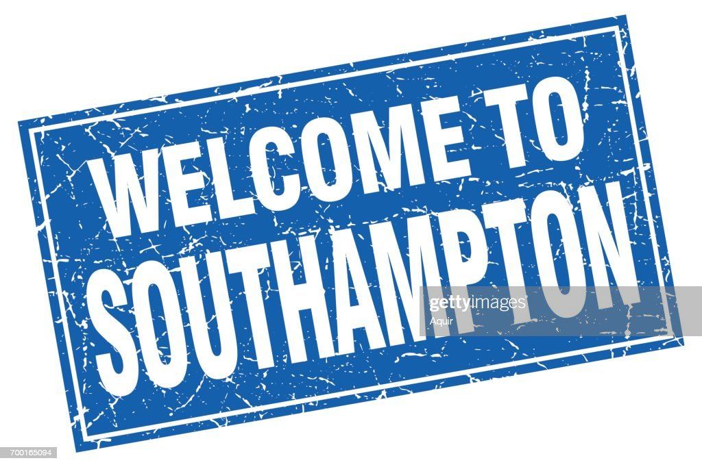 Southampton blue square grunge welcome to stamp