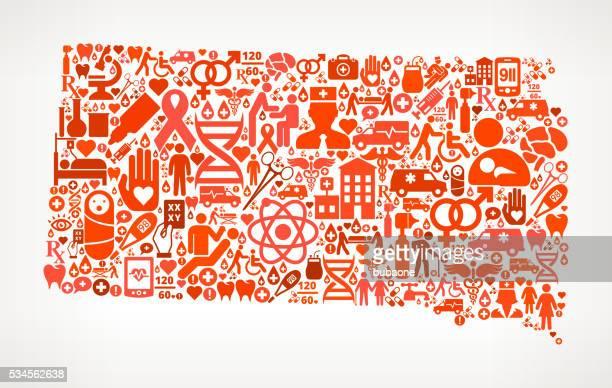 southdakota healthcare and medical red icon pattern - south dakota stock illustrations, clip art, cartoons, & icons