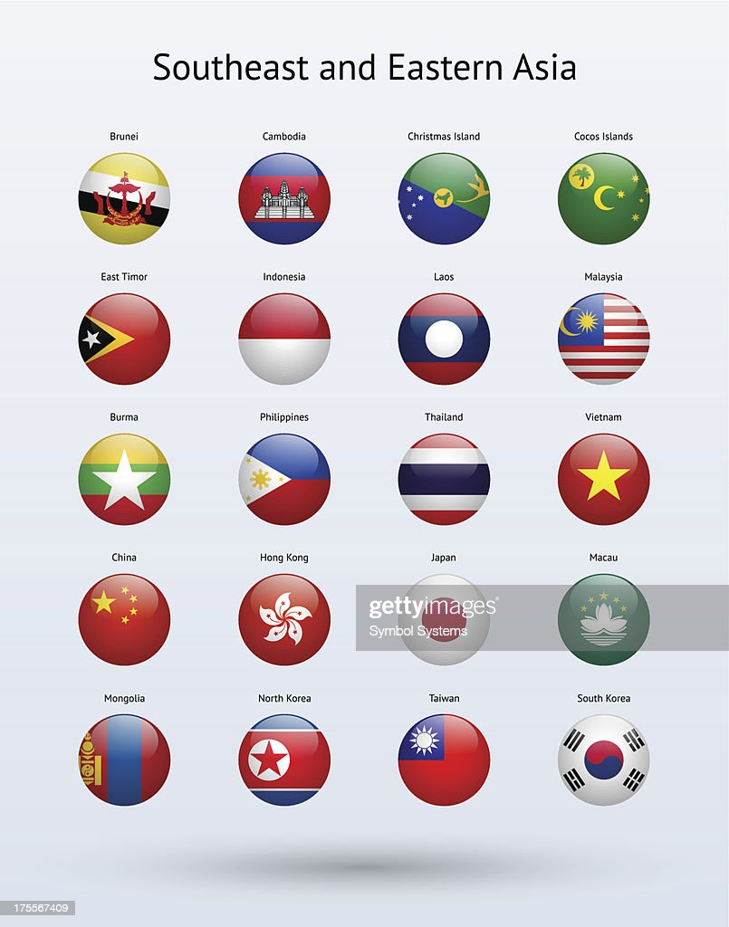 Southeast and Eastern Asia Round Flags Collection