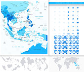 Southeast Asia Detailed Map Blue Colors And Map Pointers Collect