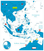 Southeast Asia Map and glossy icons on map