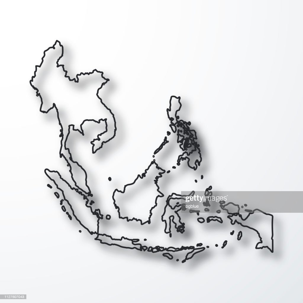 Picture of: Mapa De Asia Suroriental Negro Contorno Con Sombra Sobre Fondo Blanco Ilustracion De Stock Getty Images