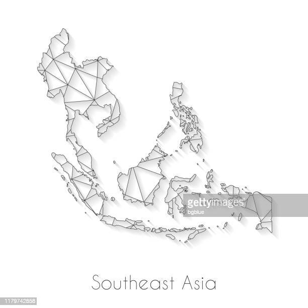southeast asia map connection - network mesh on white background - southeast stock illustrations