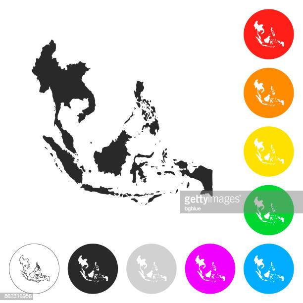 Southeast Asia map - Flat icons on different color buttons