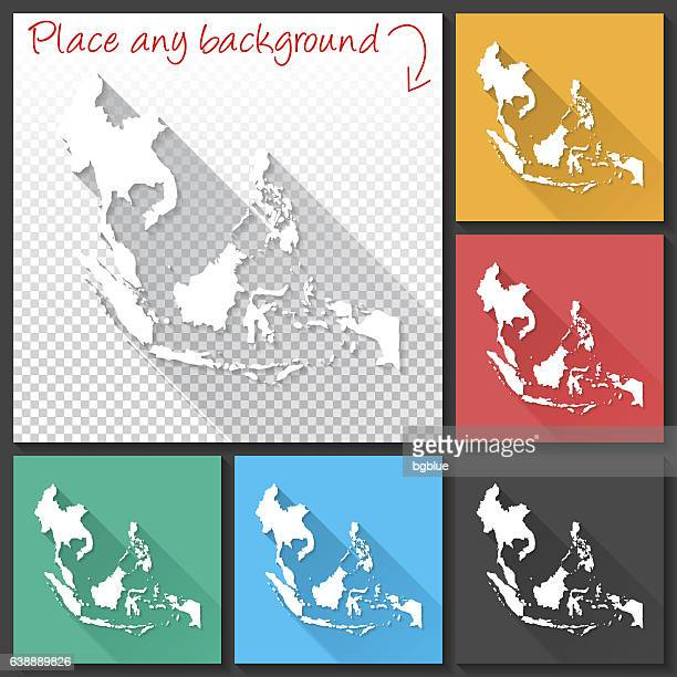 Southeast Asia Map for design, Long Shadow, Flat Design