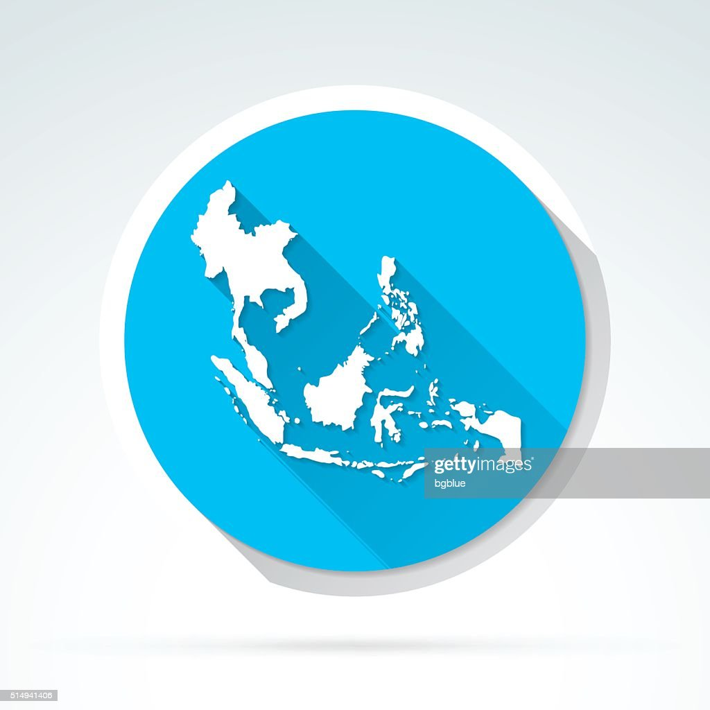 Southeast Asia map icon, Flat Design, Long Shadow