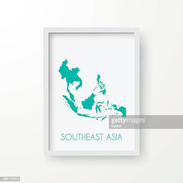 Southeast Asia Map in Frame on White Background