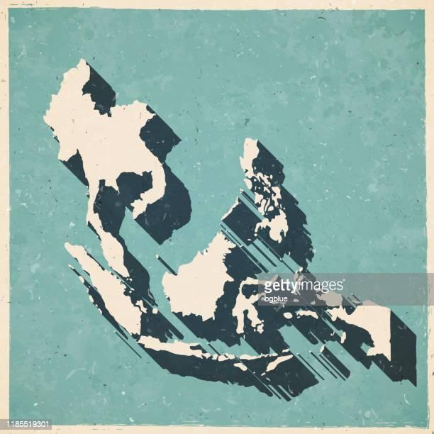 illustrazioni stock, clip art, cartoni animati e icone di tendenza di mappa del sud-est asiatico in stile vintage retrò - vecchia carta strutturata - indonesia